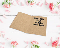 Single Fold Kraft Wedding Menu Cards