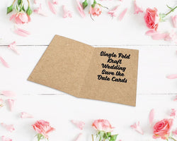 Single Fold Kraft Wedding Save the Date Cards