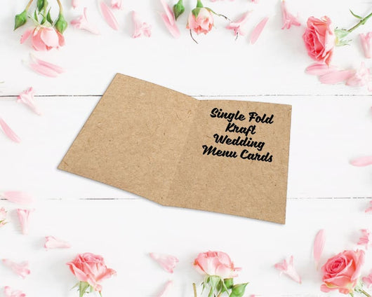 Single Fold Laser Die Cut Metallic Foiled Kraft Wedding Menu Cards