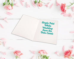Single Fold Metallic Foiled Wedding Save the Date Cards