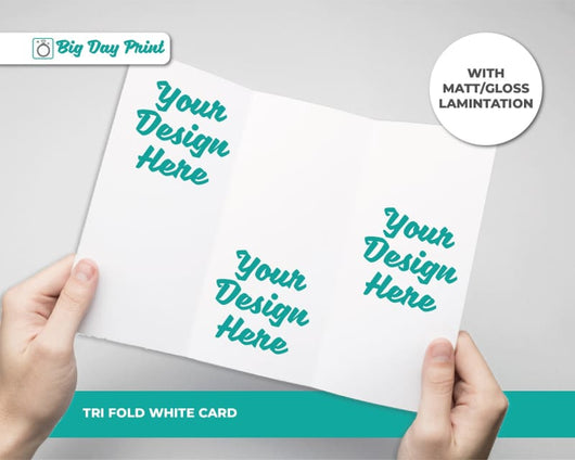 Tri-Fold Christening Information Cards - DL / Matt Lamination