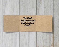 Tri Fold Kraft Bereavement Information Cards
