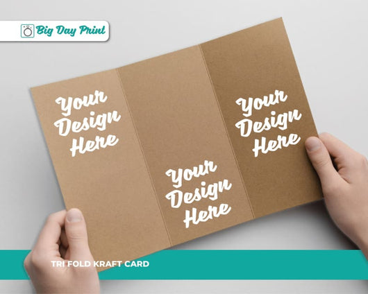 Tri Fold Kraft Birthday RSVP Cards - DL / No Lamination