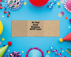 Tri Fold Kraft Birthday RSVP Cards