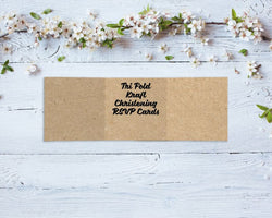 Tri Fold Kraft Christening RSVP Cards