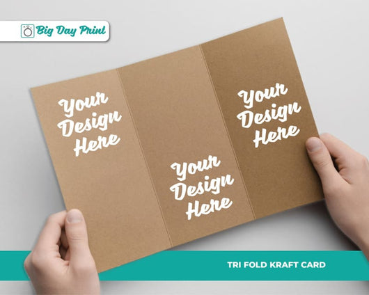 Tri Fold Kraft Christening RSVP Cards - DL / No Lamination