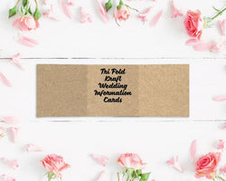 Tri Fold Kraft Wedding Information Cards
