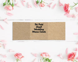 Tri Fold Kraft Wedding Menu Cards