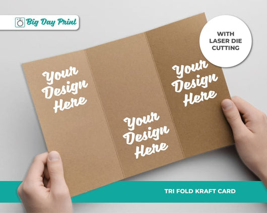 Tri Fold Laser Die Cut Kraft Wedding Advice Cards - DL / No Lamination