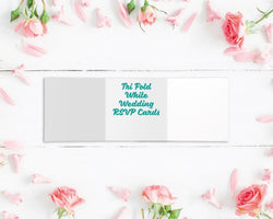 Tri Fold Metallic Foiled Wedding RSVP Cards
