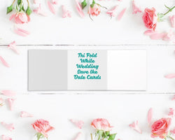 Tri Fold Metallic Foiled Wedding Save the Date Cards