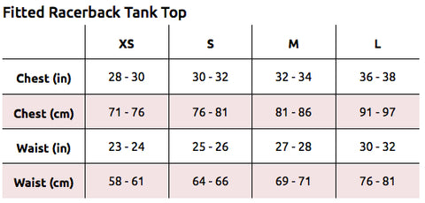 Fitted Racerback Tank Top Size Chart