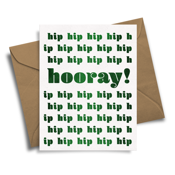 Hip Hip Hooray! - Handmade Foil Greeting Card