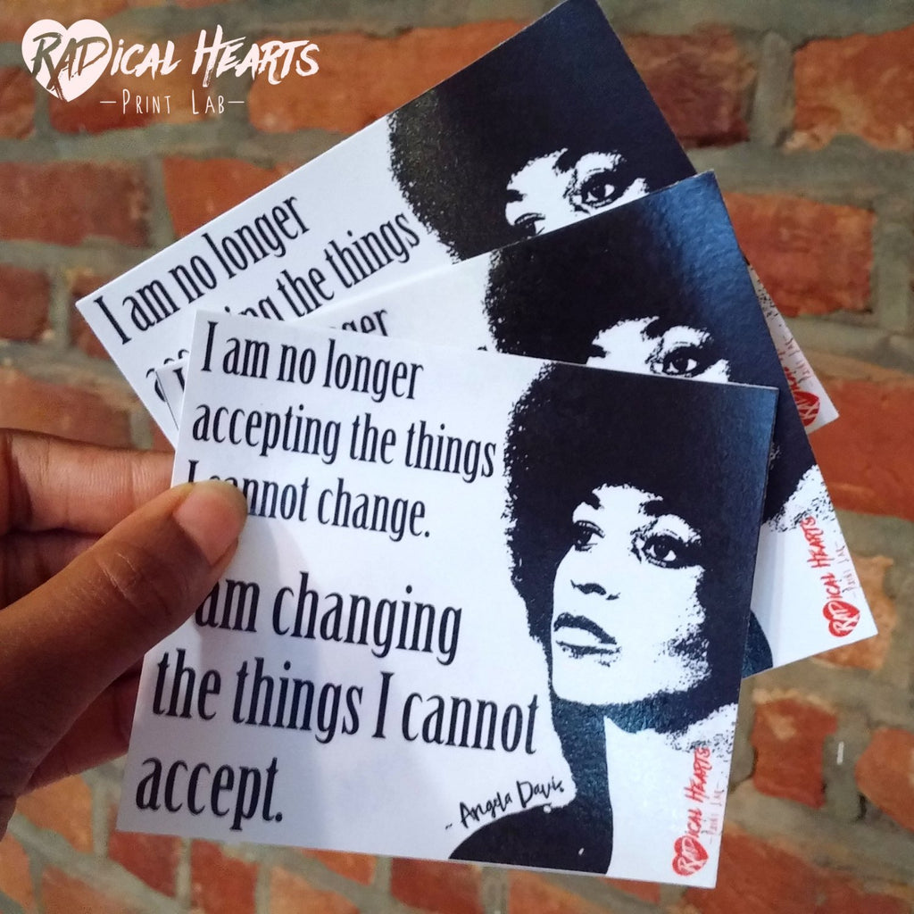 Angela Davis Quote Sticker - Political Activism - I am Changing the Things I Cannot Accept - Social Justice