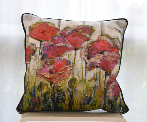Paper poppies Cushion
