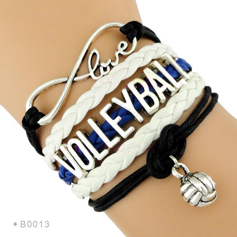 Love Volleyball Braided Bangle Bracelet - Free Shipping