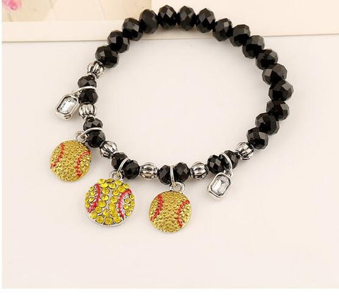 Softball Crystal Bead Bracelet - Free Shipping