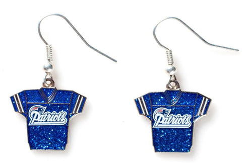 New England Patriots Glitter Jersey Earrings