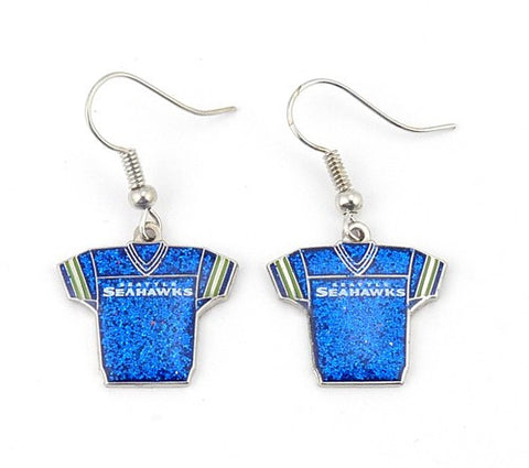 Seattle Seahawks Glitter Jersey Earrings