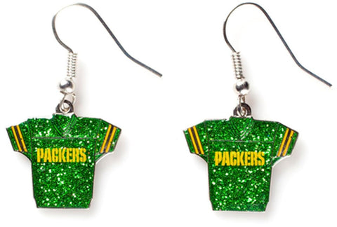 Green Bay Packers Glitter Jersey Earrings