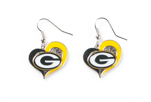 Green Bay Packers Heart Dangle Earrings