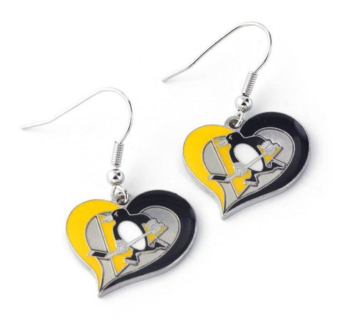 Pittsburgh Penguins Heart Dangle Earrings