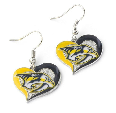 Nashville Predators Heart Dangle Earrings