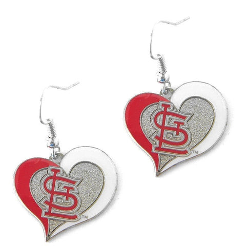 St. Louis Cardinals Heart Dangle Earrings