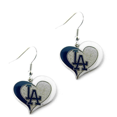 Los Angeles Dodgers Heart Dangle Earrings