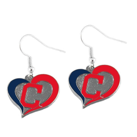 Cleveland Indians Heart Dangle Earrings