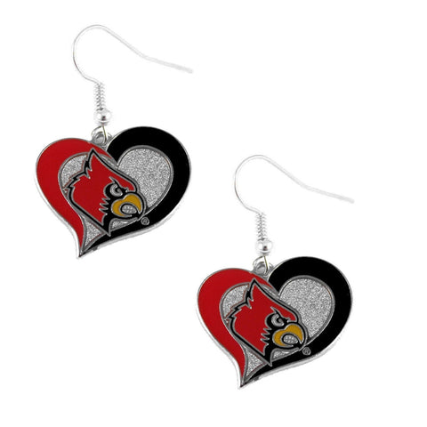 Louisville Cardinals Heart Dangle Earrings