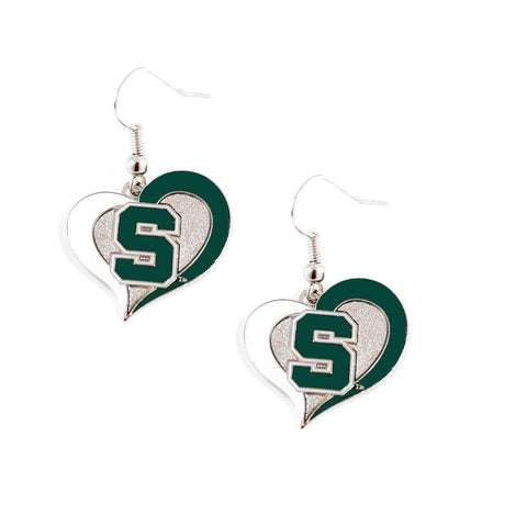 Michigan State Spartans Heart Dangle Earrings