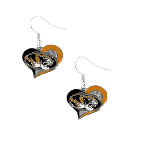 Missouri Tigers Heart Dangle Earrings