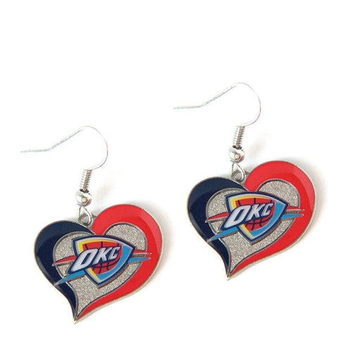 Oklahoma City Thunder Heart Dangle Earrings