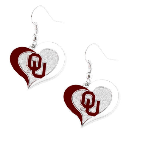 Oklahoma Sooners Heart Dangle Earrings