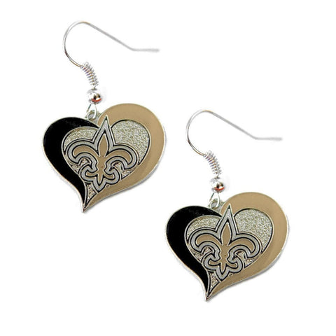 New Orleans Saints Heart Dangle Earrings