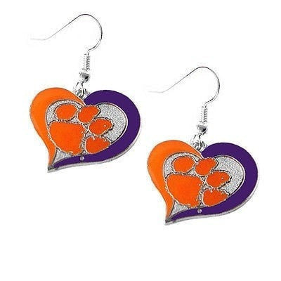 Clemson Tigers Heart Dangle Earrings