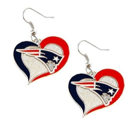 New England Patriots Heart Dangle Earrings