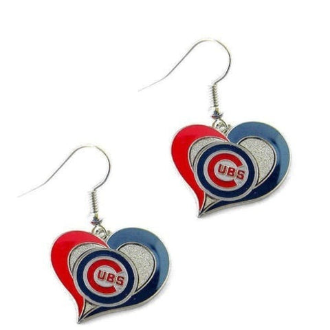 Chicago Cubs Heart Dangle Earrings