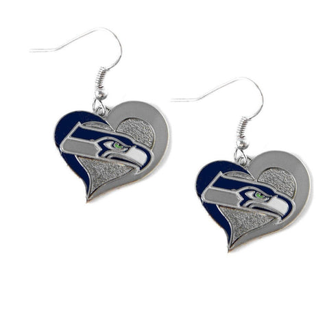 Seattle Seahawks Heart Dangle Earrings