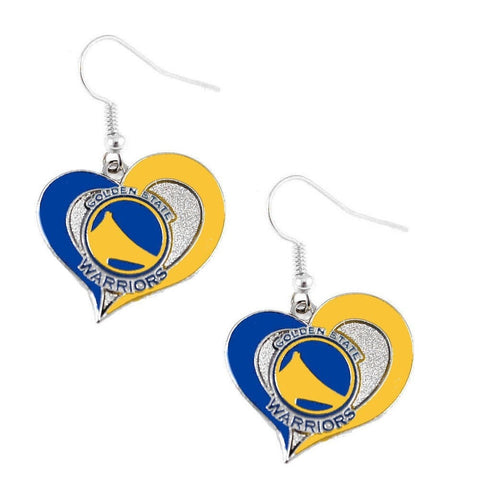 Golden State Warriors Heart Dangle Earrings