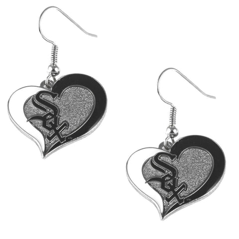 Chicago White Sox Heart Dangle Earrings