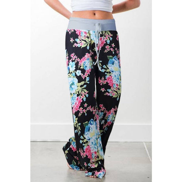 Black Flower Lounge Pants with Grey Waist