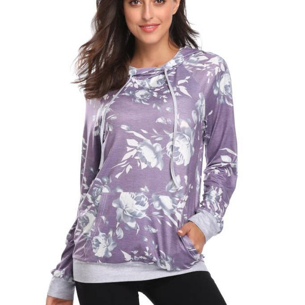Hooded Long Sleeve Shirt - Purple