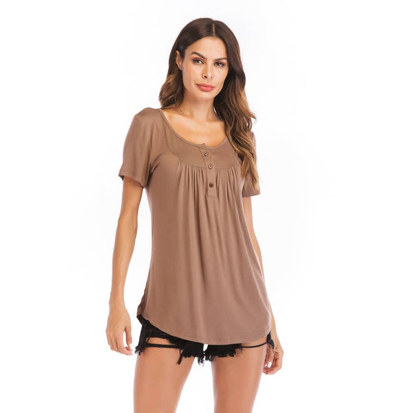 Short Sleeve Henley Top - Beige
