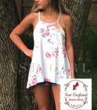 White Floral Tank (Plus Size)