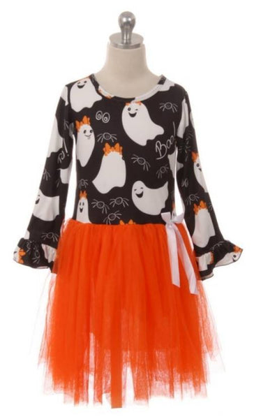 Girls Pumpkin Tulle Halloween Dress