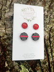 Red Line (Firefighter) Duo Earrings