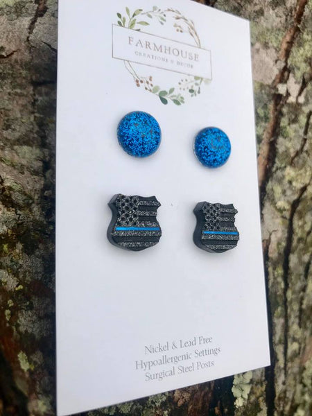Blue Line (Police) Duo Earrings