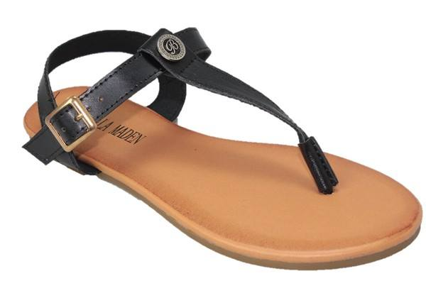 Black Button Sandal